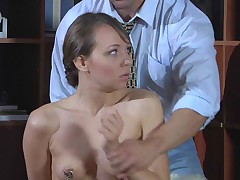 Cruel doctor loves playing with whips and lashes both teasing his patient and..