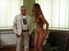 Gorgeous woman submits to cruel boss as a slave girl.