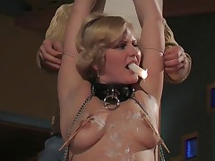 Busty hot girl likes to be tortured by her boy friend.