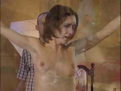Slim brunette prefers to be a slave than a boss of insurance agency.