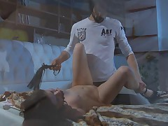 Beautiful slave girl is dominated in bondage and fucked by her Master.