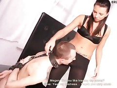 Mistress Megan is a bossy babe that just can't get enough of her slaves'..