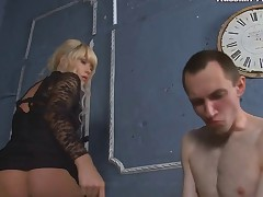 Bitch-slapped and humiliated into full submission, this pathetic skinny sub is..