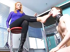 Blond domina Crystal never shows any mercy towards her slave – she's just..