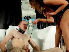 Sub almost got his head squashed between his domme's beautiful long legs.