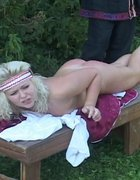 Naked serf girl birched on the bare, pic #5