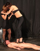 Bossy ladies training slave, pic #6