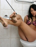 Slave licks filthy feet, pic #2